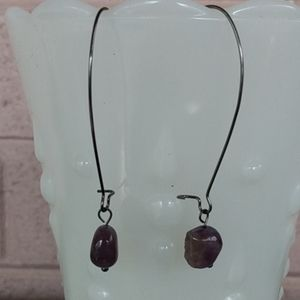 Genuine Amethyst Kidney Wire Earrings